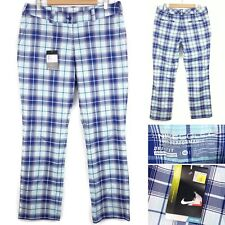"NIKE Golf Tour Performance Trousers UK 16 32"" Leg Trousers Blue Check Women's"