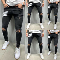 ❤️Men's Casual Ripped Hole Jeans Slim Fit Distressed Denim Pants Skinny Trousers