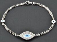 Diamond Evil Eye Bracelet 7 Inch 14k White Gold Double Strand Rolo Link 0.30 Ct.