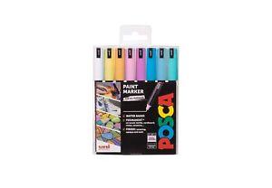 Uni Posca Paint Markers PC-1MR Ultra-Fine Set of 8 Pastel Colours