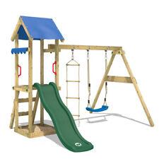 WICKEY Spielturm Kletterturm TinyCabin Grüne Rutsche Schaukel Kinder Holz Garten