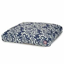 Navy Blue French Quarter Extra Large Rectangle Indoor Outdoor Pet Dog Bed Wit.