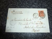 GB 1869 SG93/94 4D VERMILLION PLATE II ON COVER WITH 77 OVAL CANCELLATION VFU