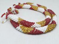 Nepal Bracelet Glass Seed Bead Roll On Crochet Nepal Handmade Necklace,Laura