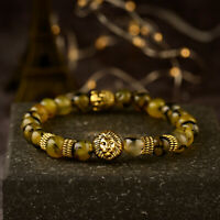 8MM Fashion Natural Lava Agate Gold Lion Buddha Head Men's Charm Beads Bracelets
