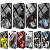 Ronaldo Neymar Messi Dybala Vidal Tempered Glass TPU Case for iPhone XS Max X 7