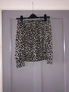Leopard Print Flow Off The Shoulder Top Primark Size 12