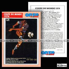 COUPE DU MONDE 1974 WM 74 WORLD CUP - Fiche Football / Fussball