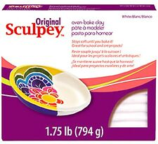 SCULPEY ORIGINAL -Oven Bake Polymer Clay - HUGE 794g Block (1.75lb) - WHITE