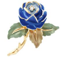 Blue Rose Floral Gold Plated Brooch use Genuine Swarovski Crystal Gift Boxed
