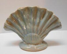 Shell Vase Gonder Pottery Fan Vase Large Blue and Orange Vintage