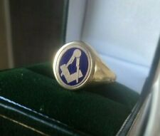 More details for 9ct yellow gold & blue enamel masonic swivel ring h/m 1989  not plated - size v