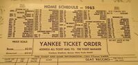 1965 NY YANKEES Ticket Mgr. Order Form Prices & schedule AL Champs- Mantle Maris