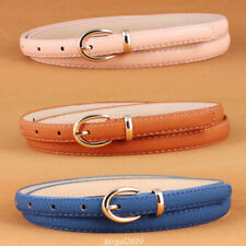 Korean Lady Simple Cute Alloy Thin PU Belt For Fashion Women's Belts Waistband
