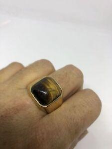 Vintage Gold Stainless Steel Genuine Tiger's Eye Size 10 Men's Ring