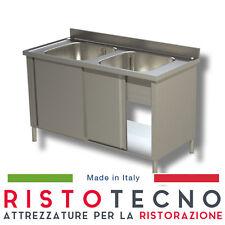 Lavatoio Lavello ARMADIATO acciaio inox 2 vasche. Cm. 130x70x85H
