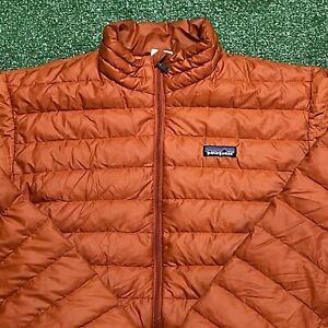 Patagonia Puffer Jacket Mens Small Adult Orange Lightweight Zip Up Coat Down USA