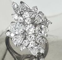 18k WHITE gold ring 4.55ct NATURAL DIAMOND SI1-H