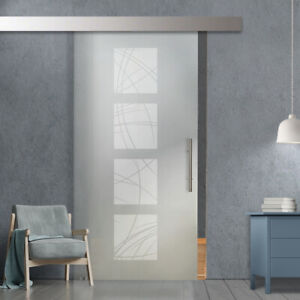 """36"""" x 96"""" Sliding Frosted Glass Barn Door Full-Private 30% OFF"""