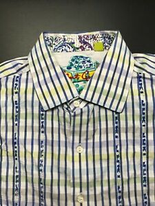 ROBERT GRAHAM WHITE THICK EMBROIDERY TAILORED FIT DESIGNER LS SHIRT SIZE: XL