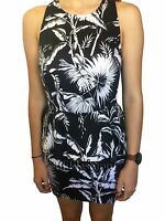 Maurie & Eve Dress Size 10 Aus New Black White Hawaii Five O Print Peplum Mesh