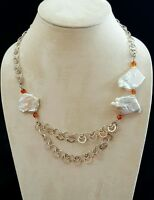 Necklace Large Blister Pearls Carnelian Stone 925 Silver Chain Handmade USA