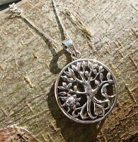925 Sterling Silver Tree of Life Moon & Sun Necklace Pendant Chain Wicca Boxed