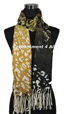 Stunning Handmade 2-Ply 100% Cashmere Pashmina LEOPARD Shawl Wrap, Yellow/Black