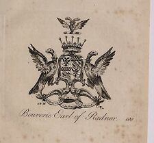 1779 ANTIQUE PRINT ~ BOUVERIE  ~ FAMILY CREST COAT OF ARMS EARL OF RADNOR