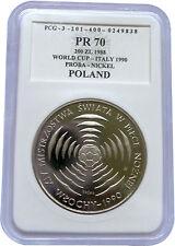 RARE! Mintage 500! ITALIY 90 Mundial Nickel Proba 200 zl Poland Graded PR70 1988