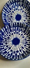 New listing SIGNATURE HOUSEWARES CERAMIC TIE DYE DINNER/PASTA BOWLS COBALT BLUE SET OF 2 NWT