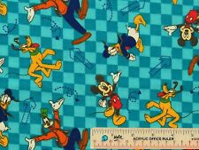 Mickey and Friends Go Toss Aqua Disney 2014 Cotton Flannel Fabric  BTY (K3)  >
