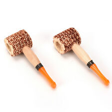 Corn Cob Smoking Tobacco Pipe Enchase Cigarettes Cigar Pipes Wood Handle ^^