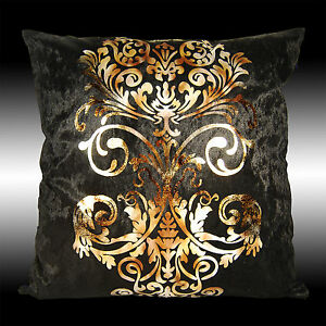 LUXURY SHINY BLACK GOLD DAMASK VELVET DECO CUSHION COVER THROW PILLOW CASE 17""