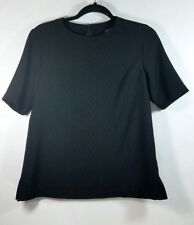 CHANEL Shirt Size Small Black Textured Employee Work Uniform Blouse Top RN78334