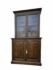 Vintage Oak Glazed Oak Wood Storage Cabinet Cabinet Bookcase
