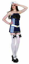 Flirty Sailor Girl Navy Nautical Fancy Dress Costume Size 10 - 12