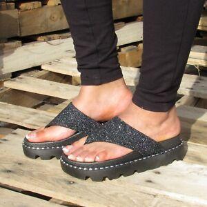 New Women's Black Beach Slip On Sandals Chunky Heels Rhinestone shoes CATATUNG-H