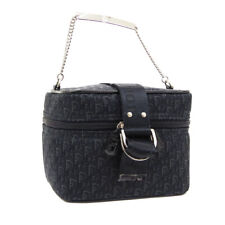 Christian Dior 狐步化妆品手工袋黑色帆布 he0074 ak43462