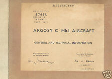Armstrong Whitworth Argosy AW.660 C.1 maintenance manual archive 1960's  RAF