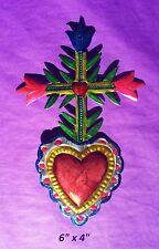 "Heart Cross & Flowers Mexican Handmade Painted Tin Milagro Art 6""x4"""