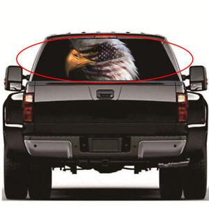 "22''x65"" Eagle USA Flag Truck Rear Window Graphic Decal Sticker Semi-transparent"