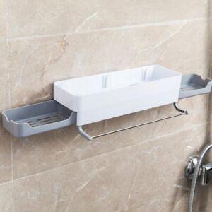 Plastic Bathroom Basket Shelf Wall-mounted Punch-free Storage Holder Rack New
