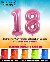 """Giant 18th Birthday Party 40"""" Foil Balloon With Curling Ribbon Age 18 PINK"""