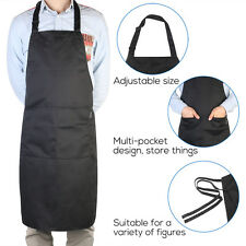 PIXNOR Black Adjustable Bib Chef Kitchen Apron with Pockets For Men And Women US
