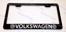 VOLKSWAGEN LASER Style Black Stainless Steel License Plate Frame W/ Bolt Caps