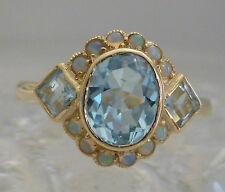 Ladies 9ct SOLID GOLD 1.60 CARAT NATURAL Vintage Insp Blue Topaz & Opal Ring R28