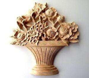 "10"" X 10"" X 1"", Hand Carved Red Oak Wood Flower Basket Onlay Applique Corbel"