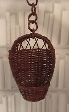 Vintage 70s small wicker Hanging chair plant stand midcentury bohemian retro
