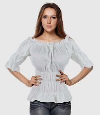 White Steampunk Rouched Gypsy Pirate Wench On Off Shoulder Top Std & Plus Size
